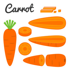 Vector set of fruit and vegetable, carrot