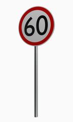 Deutsche Verkehrszeichen: Höchstgeschwindigkeit sechzig.