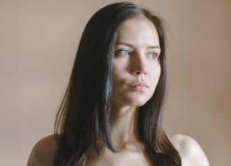Portrait of beautiful young woman. Selective soft focus.