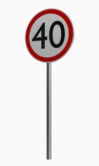 Deutsche Verkehrszeichen: Höchstgeschwindigkeit vierzig. auf weiß isoliert