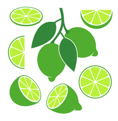 Lime set. Isolated lime on white background