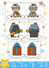 Education Christmas Paper Crafts for children. Sheep, Penguin and Christmas gift