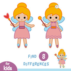 Find differences, education game, Fairy