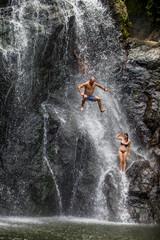Waterfall jumping, Fiji, South Pacific, Pacific