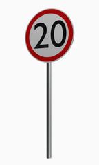 Deutsche Verkehrszeichen: Höchstgeschwindigkeit zwanzig.