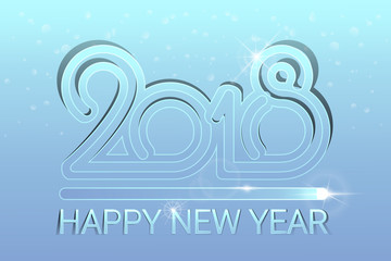 Happy New Year 2018. Christmas. Blue background. Colourful vector New Year card. Lights shimmering particles. Glow effect. Celebration. Winter holidays. Vector illustration.