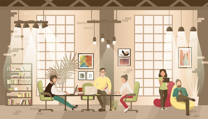 Concept of the coworking office. People work together in coworking place.Co-workers talking and working at the computers in the open space office. Vector flat style illustration.