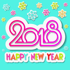 Happy New Year 2018. Christmas. Blue background. Colourful vector image in the form of abstract snowflakes. Celebration. Winter holidays. Vector. Template for greeting cards, New Year card.