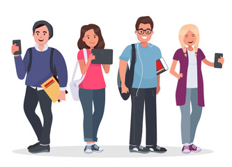 College students concept illustration. Young people with gadgets and backpacks. Modern teenagers with tablet and smartphones on white background.