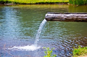 fountain in mountain lake