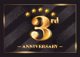 3 Year Anniversary Celebration Vector Logo. 3rd Anniversary Gold Icon with Stars and Frame. Luxury Shiny Design for Greeting Card, Invitation, Congratulation Card. Isolated on Black Background.