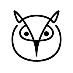 Owl. Bird head contour on a white background. Line art. Vector