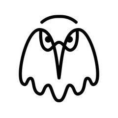 Eagle. Bird head contour on a white background. Line art. Vector