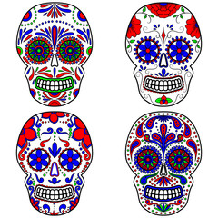 Day of The Dead colorful Skull with floral ornament. Mexican sugar skull set. Vector illustration