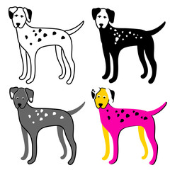 Color set of dogs on a white background. Dalmatian. Vector