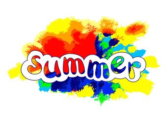 "Color template with lettering ""Summer"". Rainbow vector art."