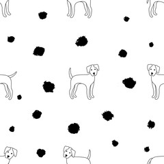Seamless pattern of dogs on a white background. Dalmatian. Vector illustration.