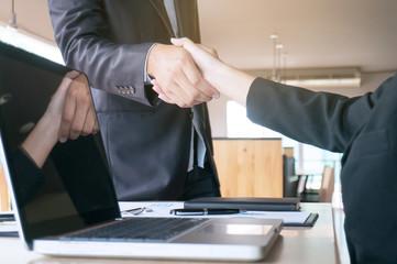 Image business mans handshake. Business partnership meeting concept