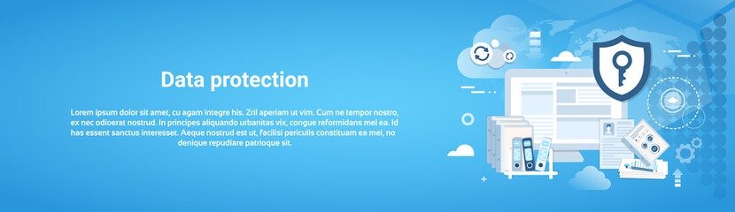 Data Protection Horizontal Web Banner With Copy Space Vector Illustration