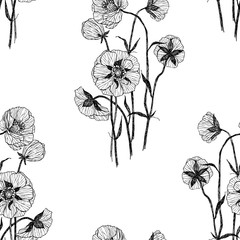 Seamless pattern. Vintage botanical illustration flower. Flower concept. Botanica concept. Vector design.
