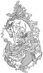 mythological sea horse hippocampus or hippocamp in the water. Outline vector illustration coloring page