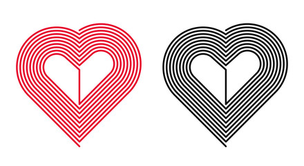 Vector Red and Black Heart