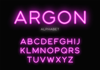 Glowing neon typeface design. Vector alphabet, letters, font, typography.