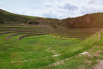 Green ancient inca ruins landscape