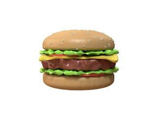abstract cartoon hamburger 3d rendering white background