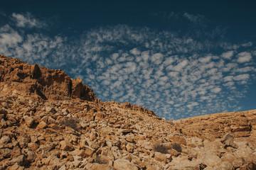 Rocky hill on desert in Israel. Ramon crater landscape.