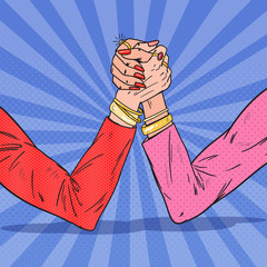 Pop Art Female Hands Armwrestling. Woman Rivalry, Competition, Conflict. Vector illustration