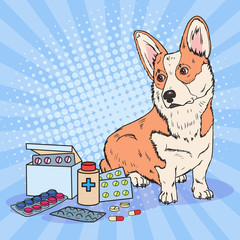 Pop Art Corgi Dog with Medication Pills and Tablets. Pet Health Care. Vector illustration