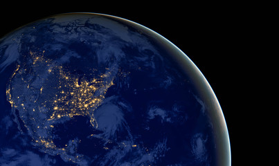 Wall Murals Nasa United States of America lights during night as it looks like from space. Elements of this image are furnished by NASA