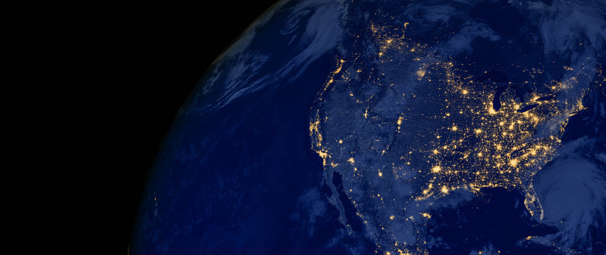 United States of America lights during night as it looks like from space. Elements of this image are furnished by NASA