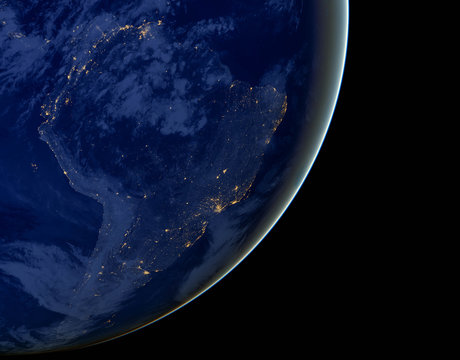 South America lights during night as it looks like from space. Elements of this image are furnished by NASA