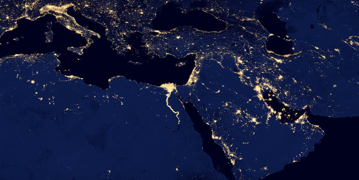 Middle east, west asia, east europe lights during night as it looks like from space. Elements of this image are furnished by NASA.
