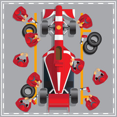 Papiers peints F1 Maintenance of a racing car. View from above. Vector illustration.