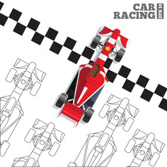 Racing cars at the finish line. View from above. Vector illustration.