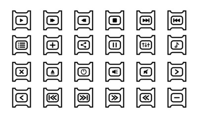 Media Player Icon Set. Audio Player Vector Line Icons Collection