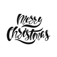 Merry Christmas. Hand drawn calligraphy text. Holiday typography design. Black and white Christmas greeting card.