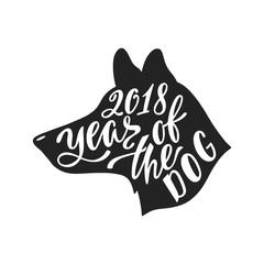 2018 - Year of the Dog. Chinese sign of zodiac graphic design. Hand drawn typography design.