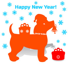 Symbol of the year, orange dog in santa claus hat holding a bell in his mouth, cartoon on white background,