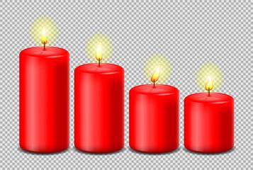Kerzen rot mit Flamme Set isoliert