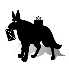 Symbol of the year, dog silhouette holding an envelope in the teeth, cartoon on a white background,