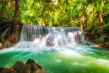 Beautiful Huay Mae Khamin waterfall in tropical rainforest at Srinakarin national park