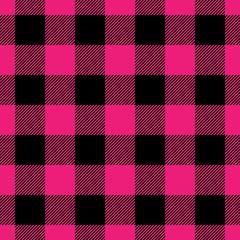 Lumberjack plaid pattern in pink and black. Seamless vector pattern. Simple vintage textile design.