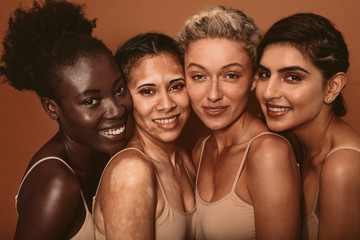 Beautiful woman with different skin types