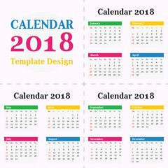 Year 2018 Calendar Simple Clean Template. Flat Metro Colorful Design for Room Office, Kids Children School wall or desk.