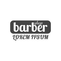 Grey emblem for barber shop, vector illustration.
