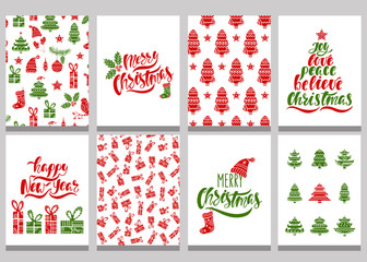 Set of christmas greeting cards. Xmas postcards with seamless patterns and typography design. Red and green holiday templates.